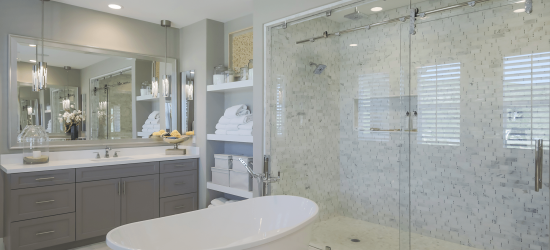 Mirror and shower glass by Palmdale Glass